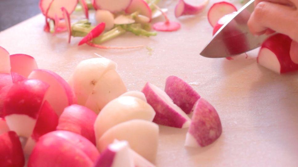 chopping radishes